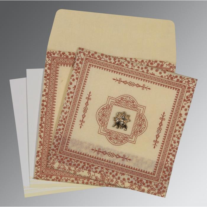 Ivory Wooly Glitter Wedding Card : G-8205O - 123WeddingCards