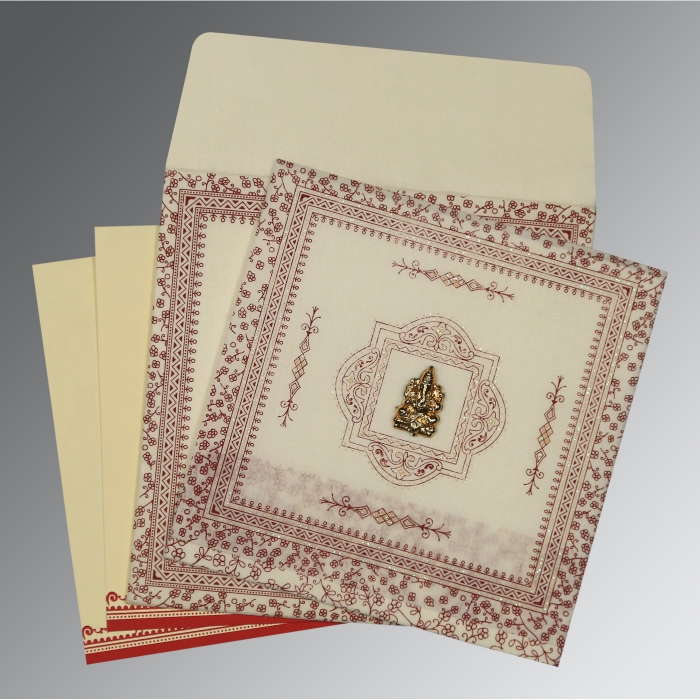 Ivory Wooly Glitter Wedding Card : IN-8205E - 123WeddingCards