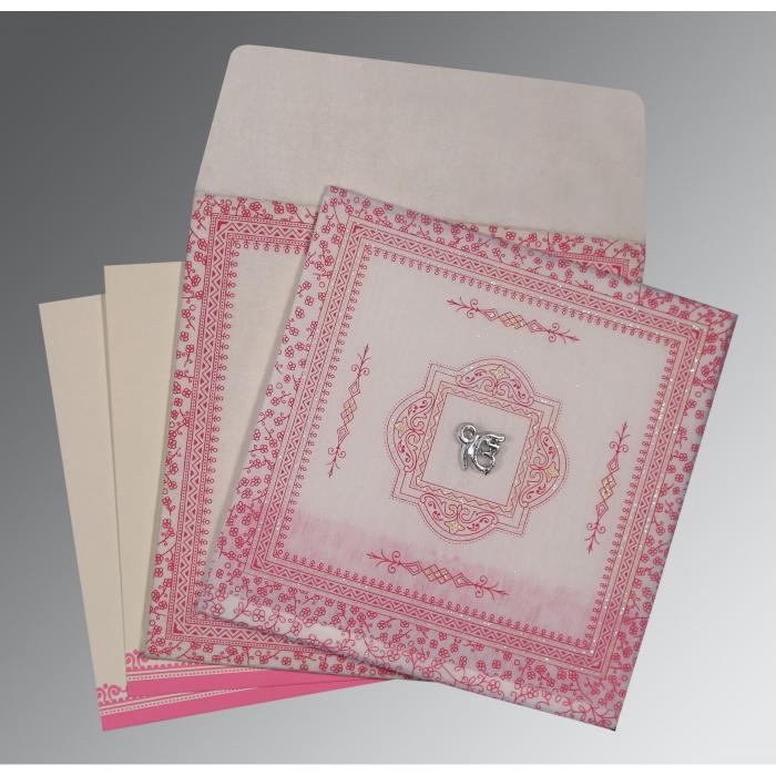 Ivory Wooly Glitter Wedding Card : RU-8205A - 123WeddingCards