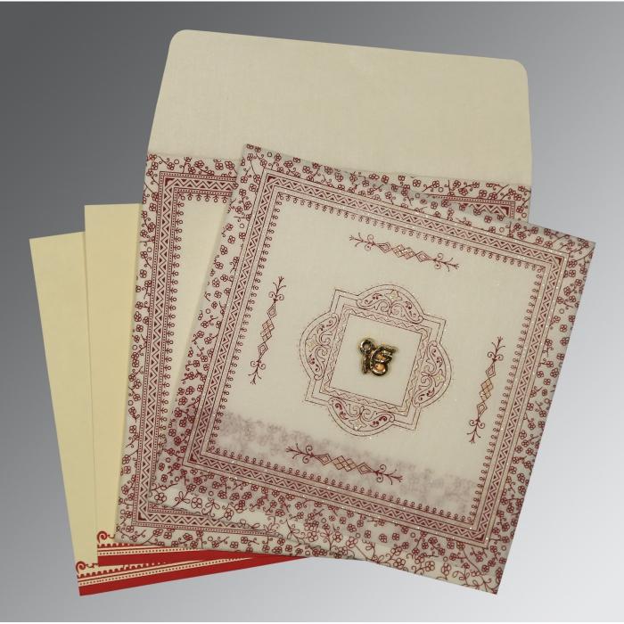 Ivory Wooly Glitter Wedding Card : RU-8205E - 123WeddingCards