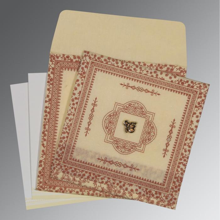 Ivory Wooly Glitter Wedding Card : S-8205O - 123WeddingCards