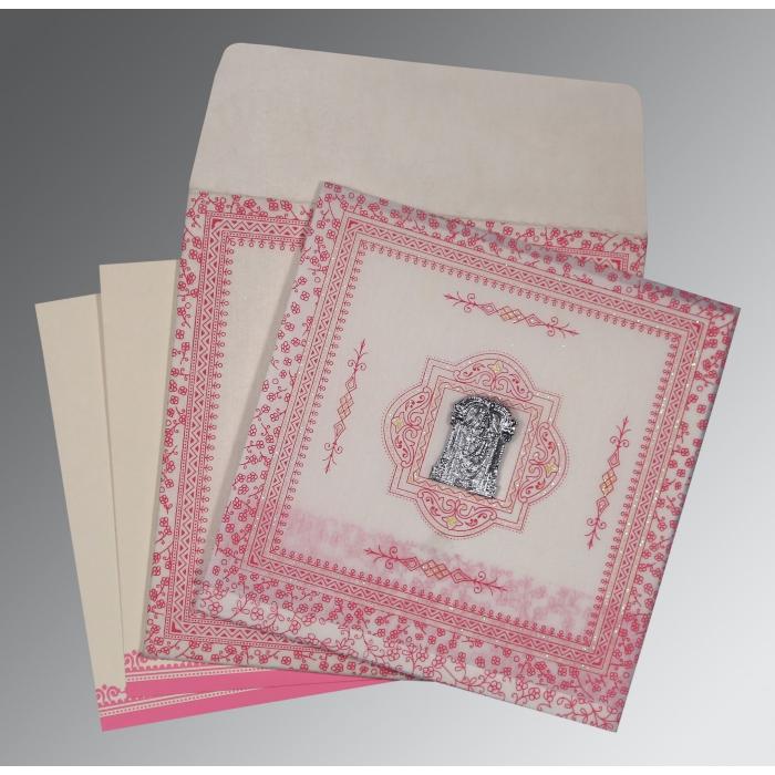 Ivory Wooly Glitter Wedding Card : SO-8205A - 123WeddingCards