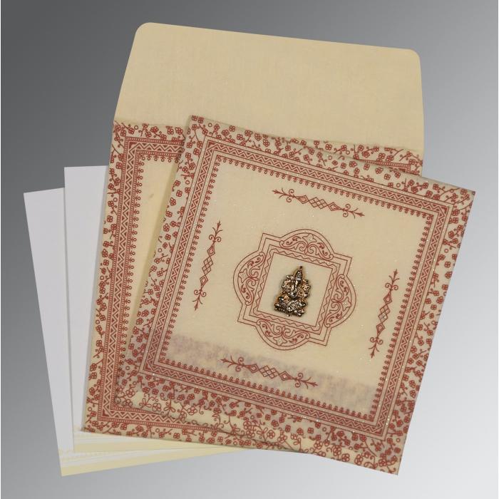 Ivory Wooly Glitter Wedding Card : W-8205O - 123WeddingCards