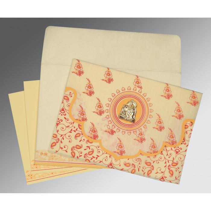 Ivory Wooly Screen Printed Wedding Invitation : G-8207A - 123WeddingCards