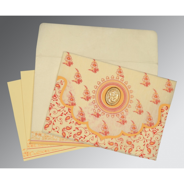 Ivory Wooly Screen Printed Wedding Invitations : I-8207A - 123WeddingCards