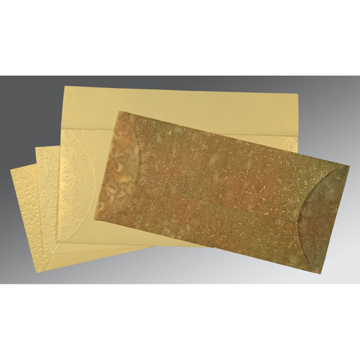 GOLD WOOLY EMBOSSED WEDDING INVITATION : D-1391 - 123WeddingCards