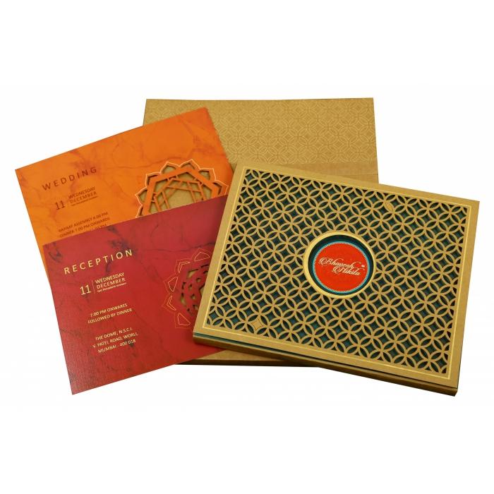 KHAKI MATTE BOX THEMED - LASER CUT WEDDING INVITATION : IN-1844 - 123WeddingCards