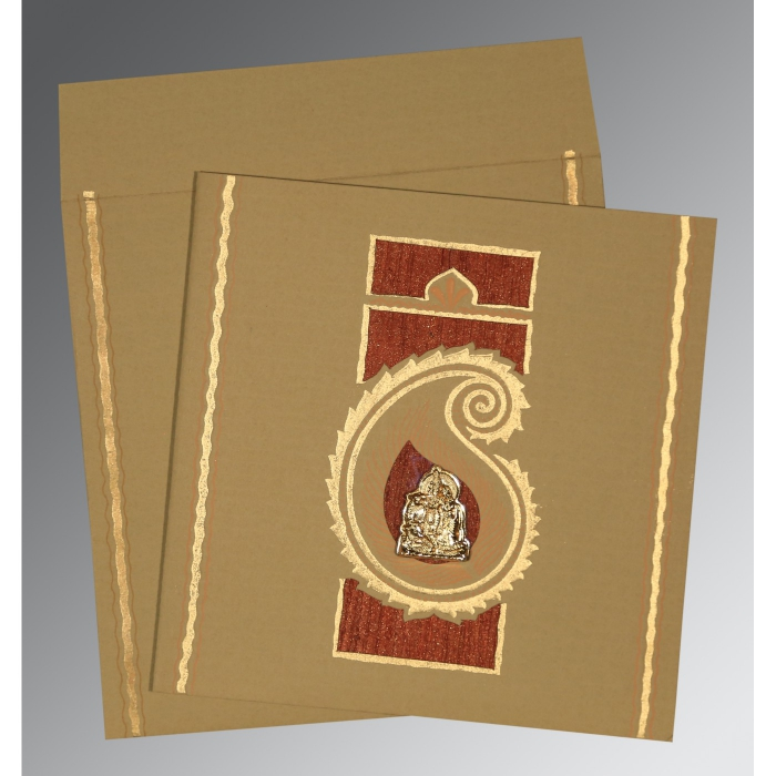 Khaki Matte Embossed Wedding Invitation : G-1187 - 123WeddingCards