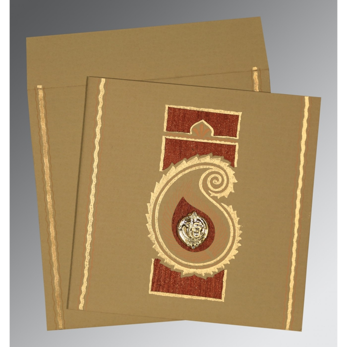 Khaki Matte Embossed Wedding Invitation : RU-1187 - 123WeddingCards
