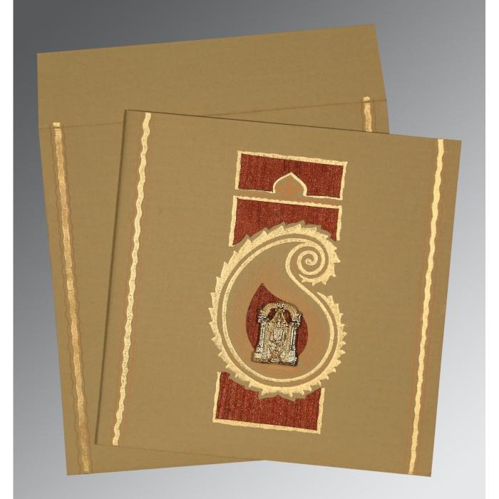 Khaki Matte Embossed Wedding Invitation : SO-1187 - 123WeddingCards