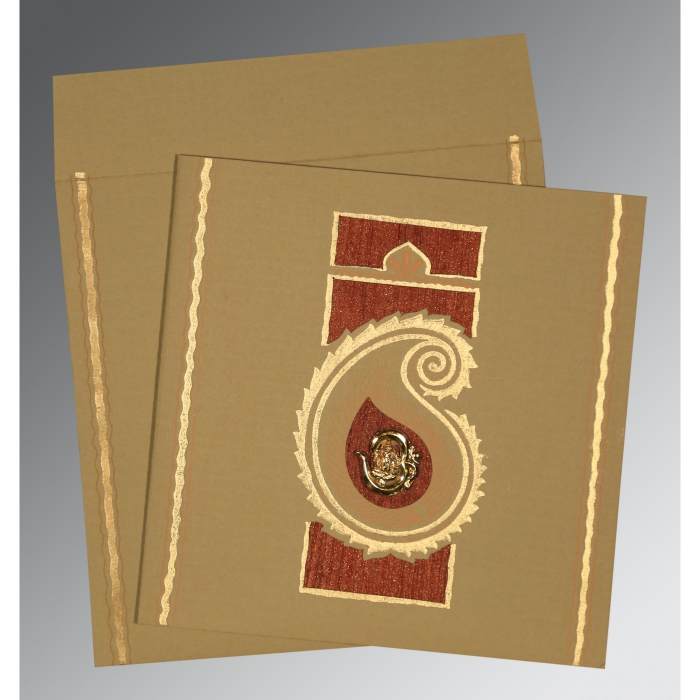 KHAKI MATTE EMBOSSED WEDDING INVITATION : W-1187 - 123WeddingCards