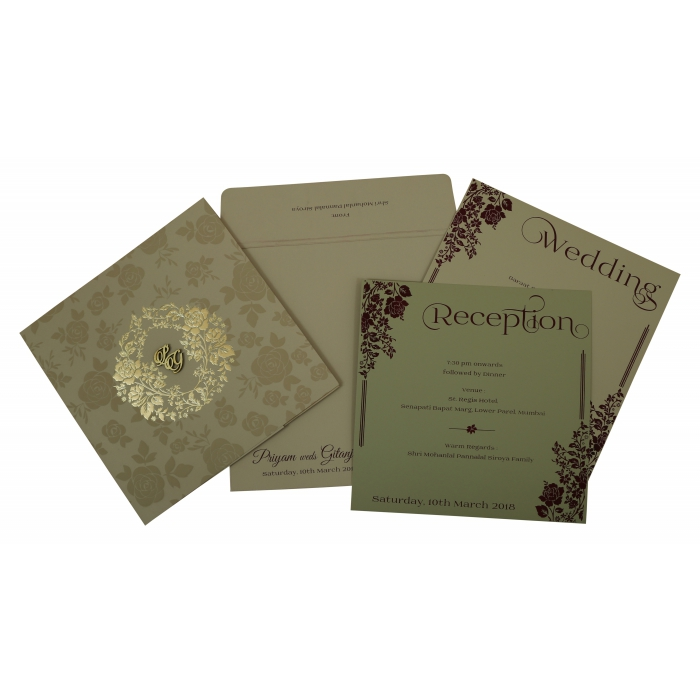 KHAKI MATTE FLORAL THEMED - FOIL STAMPED WEDDING INVITATION : IN-1805 - 123WeddingCards