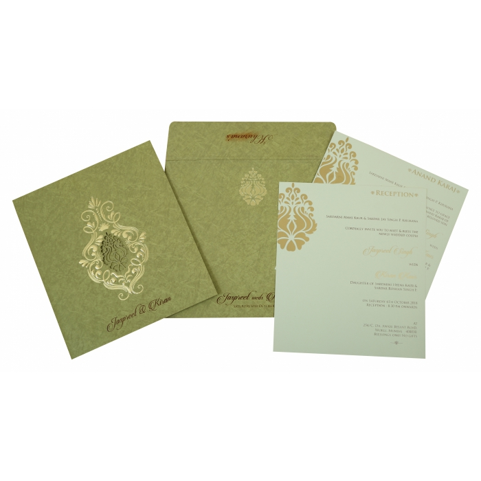 PARROT GREEN MATTE DAMASK THEMED - LASER CUT WEDDING INVITATION : D-1813 - 123WeddingCards