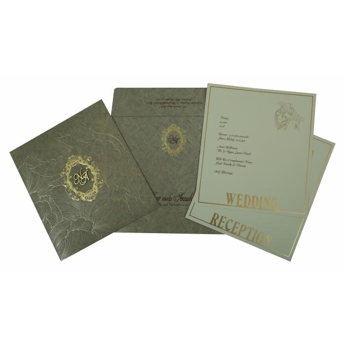 OLIVE GREEN MATTE FOIL STAMPED WEDDING INVITATION : W-1804 - 123WeddingCards