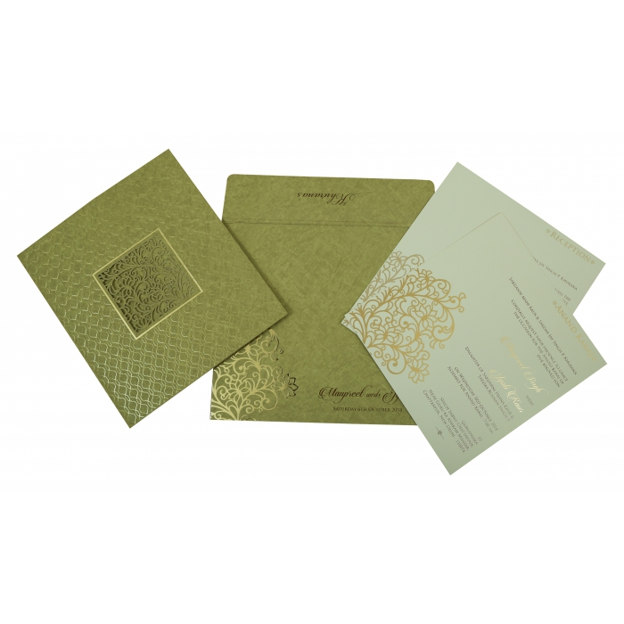 DEEP SAGE MATTE FLORAL THEMED - LASER CUT WEDDING INVITATION : W-1810 - 123WeddingCards