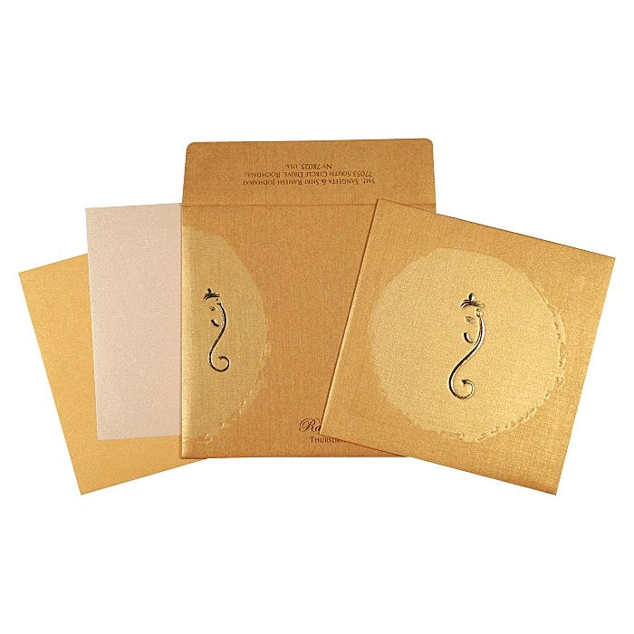 KHAKI MATTE FOIL STAMPED WEDDING INVITATION : W-2291 - 123WeddingCards