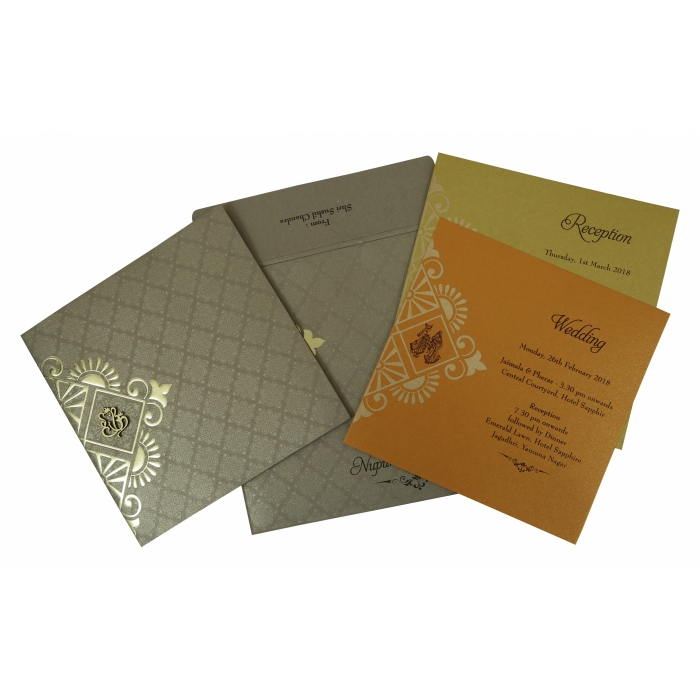 Khaki Shimmery Box Themed - Foil Stamped Wedding Invitation : W-1791 - 123WeddingCards