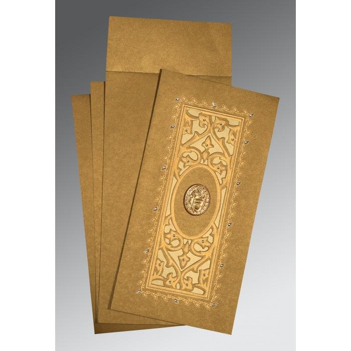 Khaki Shimmery Embossed Wedding Card : RU-1440 - 123WeddingCards
