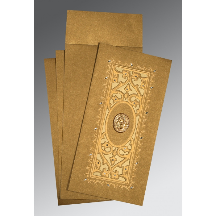 Khaki Shimmery Embossed Wedding Card : S-1440 - 123WeddingCards