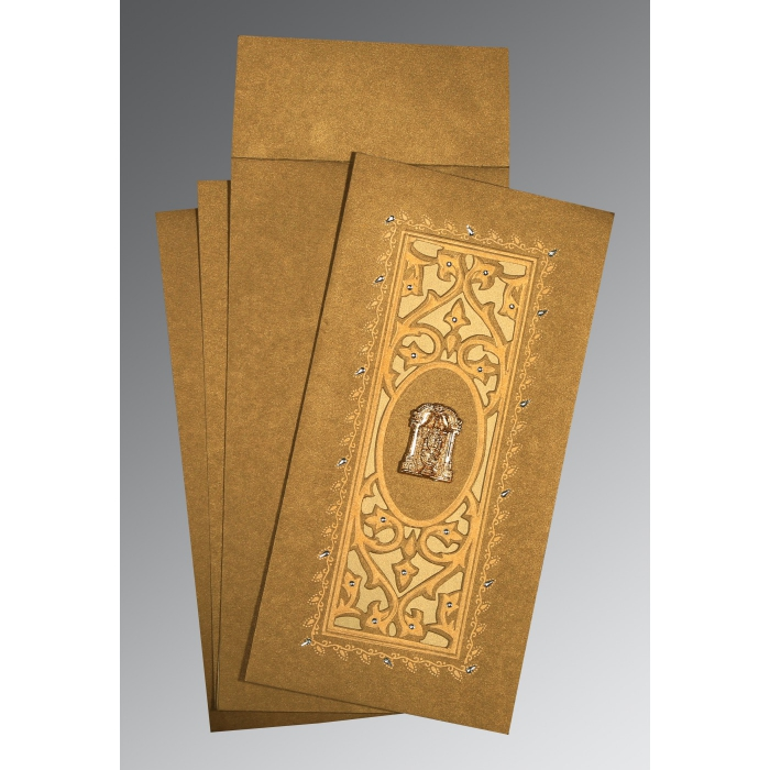 Khaki Shimmery Embossed Wedding Card : SO-1440 - 123WeddingCards