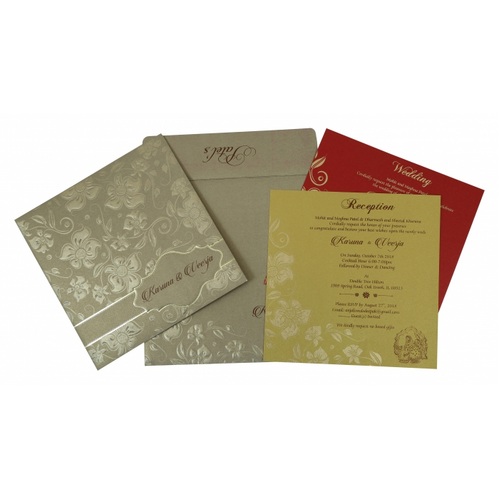 KHAKI SHIMMERY FLORAL THEMED - FOIL STAMPED WEDDING INVITATION : C-1785 - 123WeddingCards