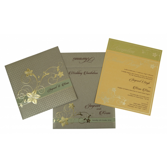 KHAKI SHIMMERY FLORAL THEMED - FOIL STAMPED WEDDING INVITATION : IN-1776 - 123WeddingCards
