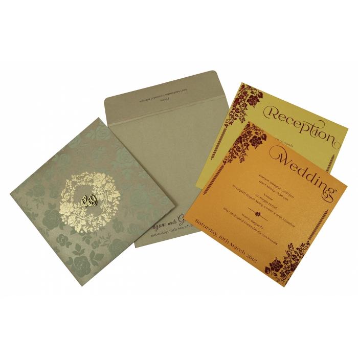 SAND SHIMMERY FOIL STAMPED WEDDING INVITATION : C-1817 - 123WeddingCards