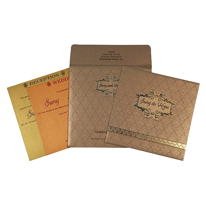 Khaki Shimmery Foil Stamped Wedding Card : W-1713 - 123WeddingCards