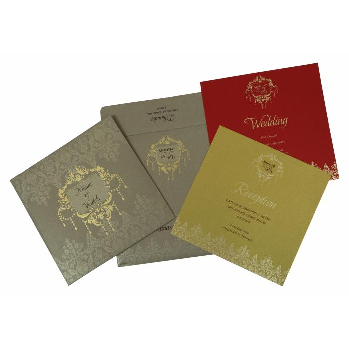 Khaki Shimmery Foil Stamped Wedding Invitation : W-1792 - 123WeddingCards