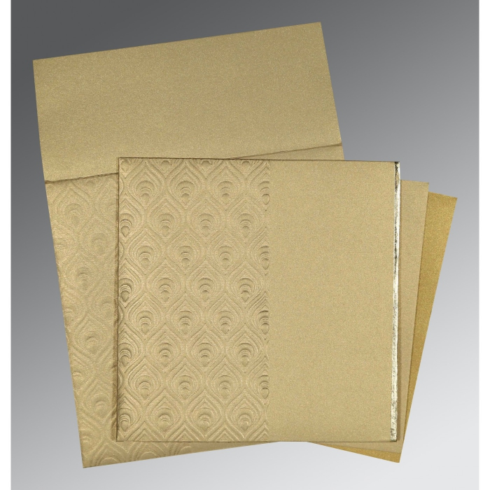 KHAKI SHIMMERY FOIL STAMPED WEDDING INVITATION : W-1506 - 123WeddingCards