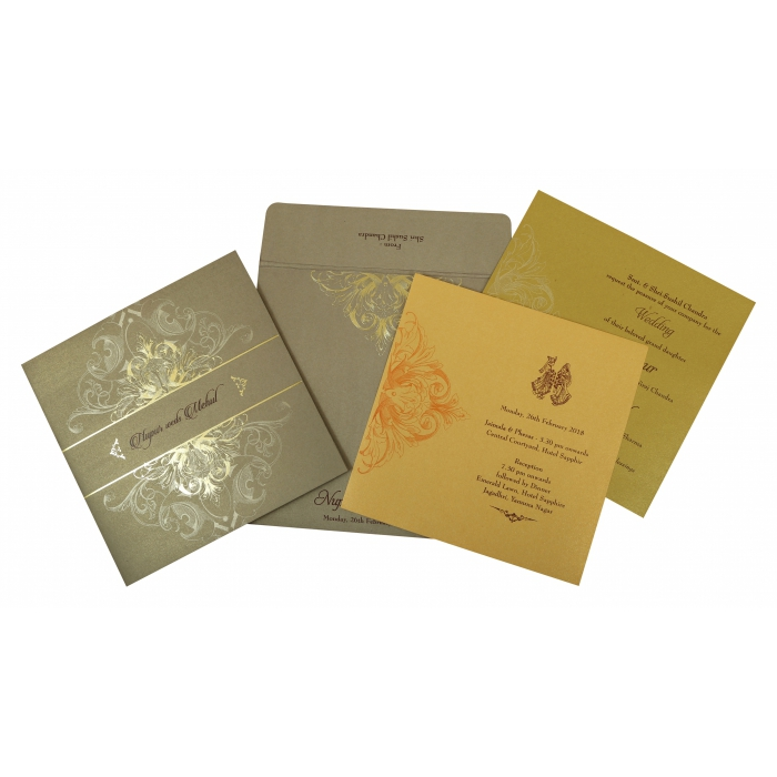 Khaki Shimmery Paisley Themed - Foil Stamped Wedding Invitation : W-1806 - 123WeddingCards