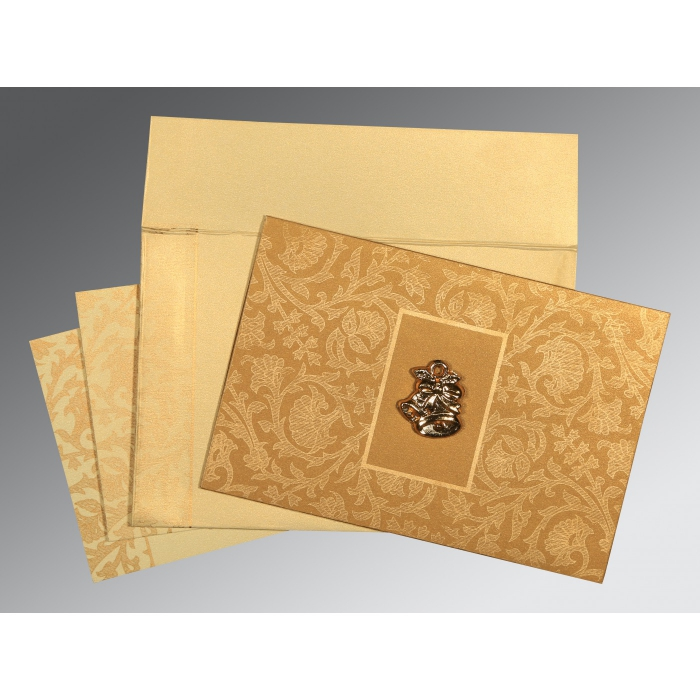 YELLOW GOLD SHIMMERY POCKET THEMED - EMBOSSED WEDDING INVITATION : C-1434 - 123WeddingCards
