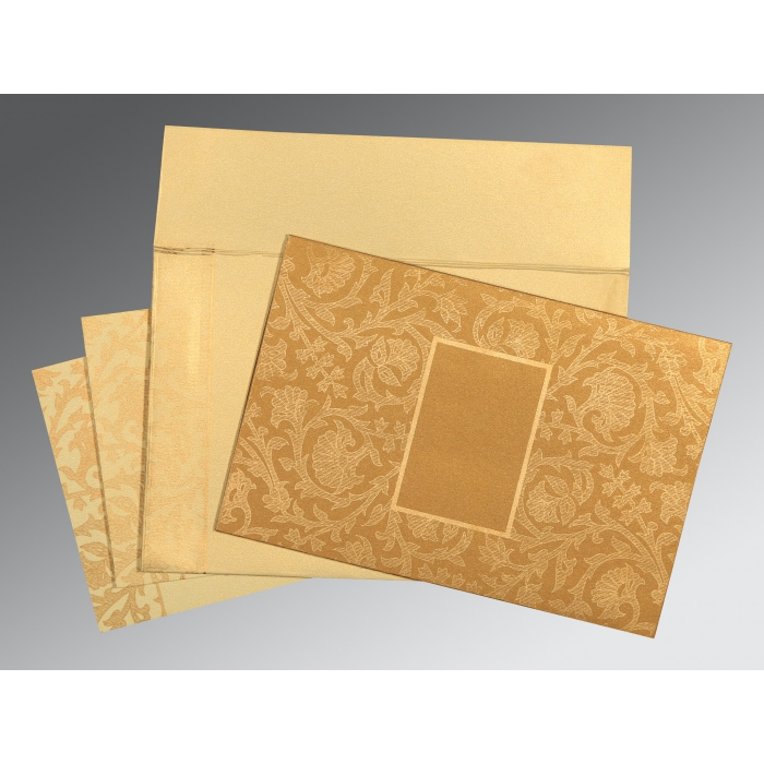 YELLOW GOLD SHIMMERY POCKET THEMED - EMBOSSED WEDDING INVITATION : D-1434 - 123WeddingCards
