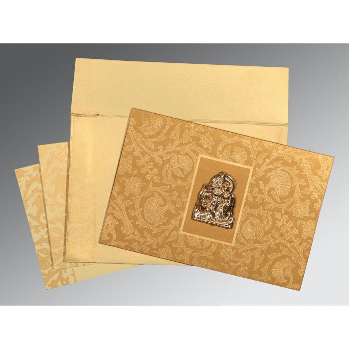 Khaki Shimmery Pocket Themed - Embossed Wedding Invitation : G-1434 - 123WeddingCards