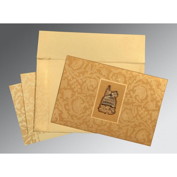 Khaki Shimmery Pocket Themed - Embossed Wedding Invitation : I-1434 - 123WeddingCards