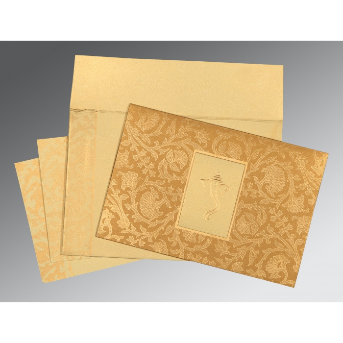YELLOW GOLD SHIMMERY POCKET THEMED - EMBOSSED WEDDING INVITATION : W-1434 - 123WeddingCards