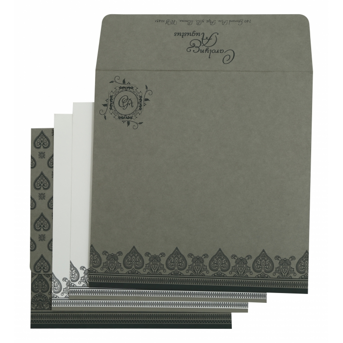 LIGHT GREY MATTE SCREEN PRINTED WEDDING INVITATION : IN-809A - 123WeddingCards