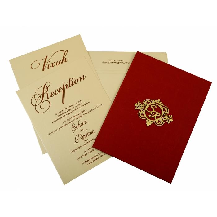 MAROON SATIN BOX THEMED WEDDING INVITATION : IN-1845 - 123WeddingCards