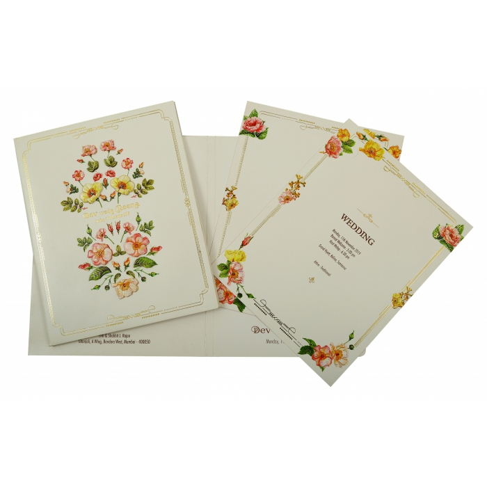 OFF-WHITE SHIMMERY BOX THEMED - FOIL STAMPED WEDDING INVITATION : IN-1849 - 123WeddingCards