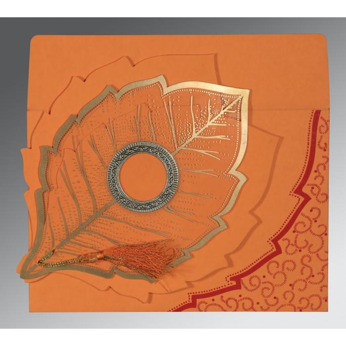 Orange Handmade Cotton Floral Themed - Foil Stamped Wedding Card : CRU-8219B - 123WeddingCards