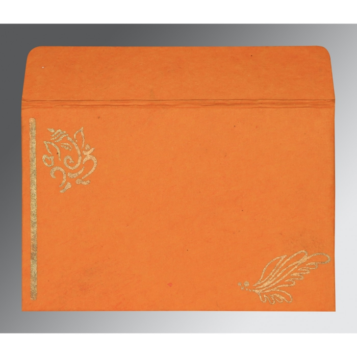 Orange Handmade Cotton Screen Printed Wedding Card : W-2251 - 123WeddingCards