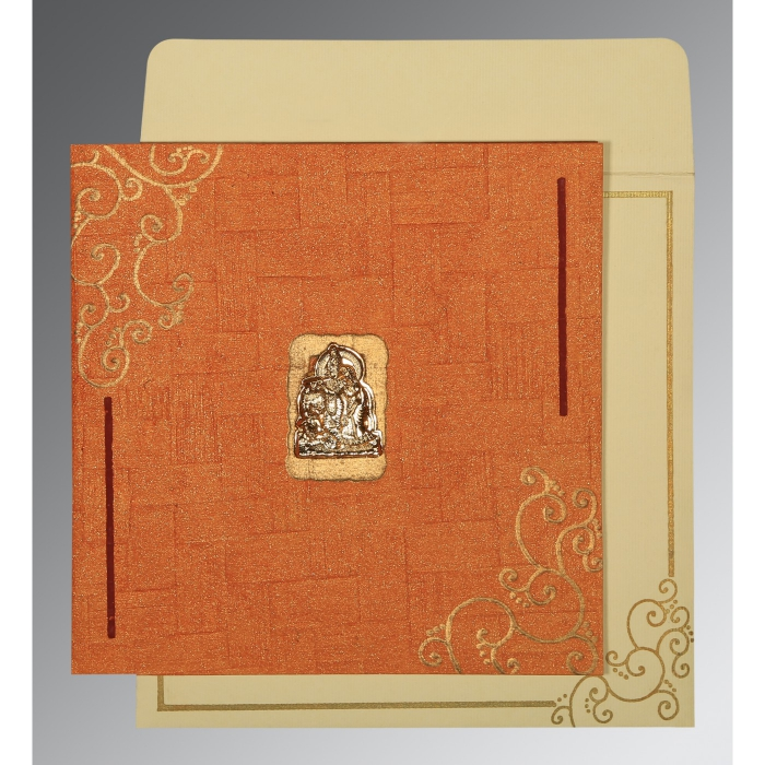 Orange Handmade Shimmer Embossed Wedding Invitation : G-1236 - 123WeddingCards