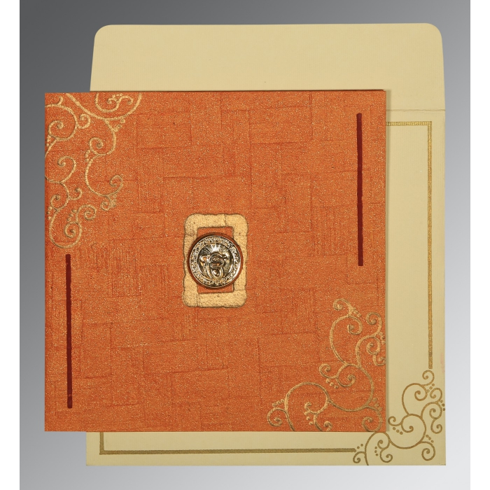 Orange Handmade Shimmer Embossed Wedding Invitation : RU-1236 - 123WeddingCards