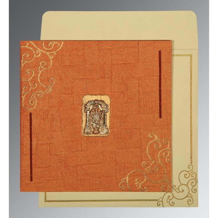 Orange Handmade Shimmer Embossed Wedding Invitations : SO-1236 - 123WeddingCards