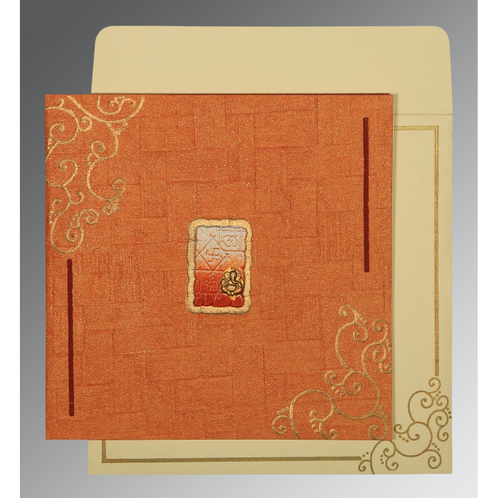 Orange Handmade Shimmer Embossed Wedding Invitation : W-1236 - 123WeddingCards
