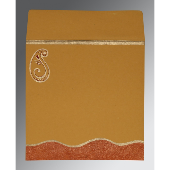 Orange Handmade Shimmer Embossed Wedding Card : W-2248 - 123WeddingCards
