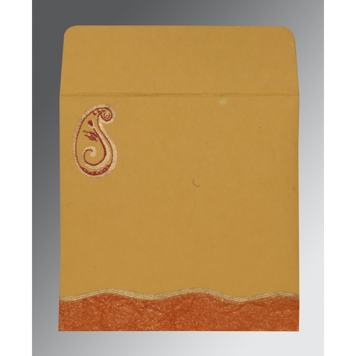Orange Handmade Shimmer Embossed Wedding Invitations : W-2252 - 123WeddingCards