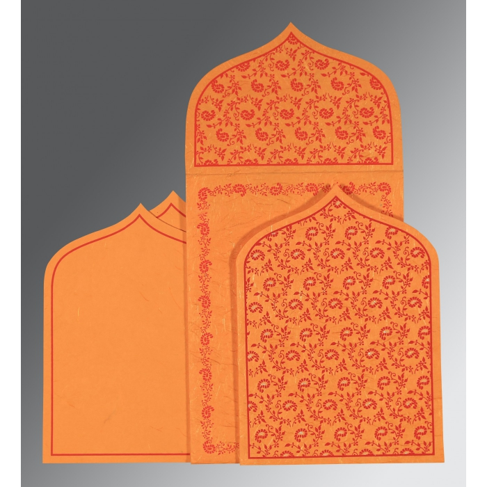 Orange Handmade Silk Paisley Themed - Glitter Wedding Invitation : I-8208G - 123WeddingCards