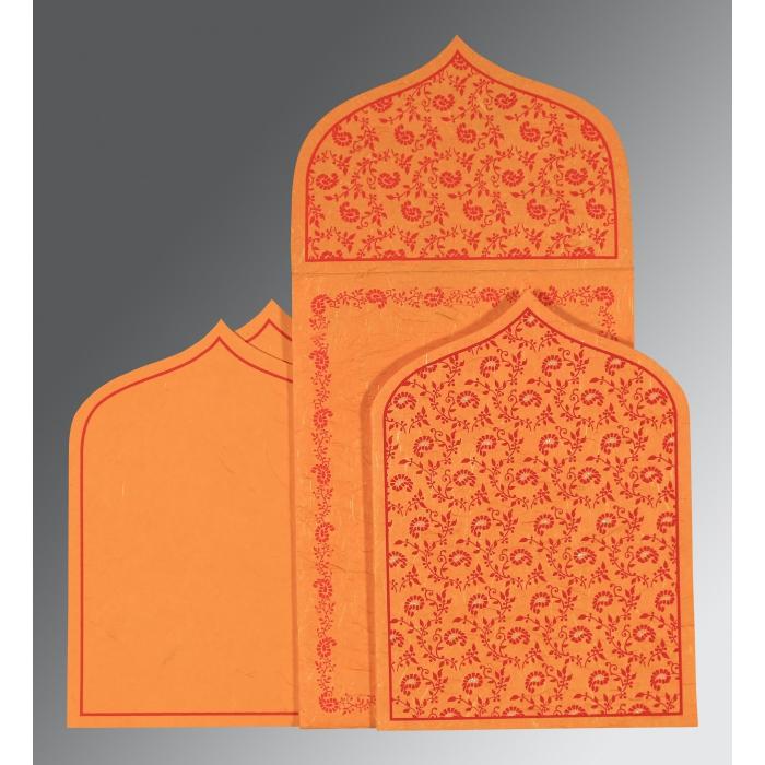 Orange Handmade Silk Paisley Themed - Glitter Wedding Invitation : RU-8208G - 123WeddingCards