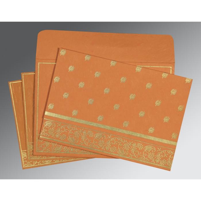 Orange Handmade Silk Screen Printed Wedding Card : C-8215L - 123WeddingCards